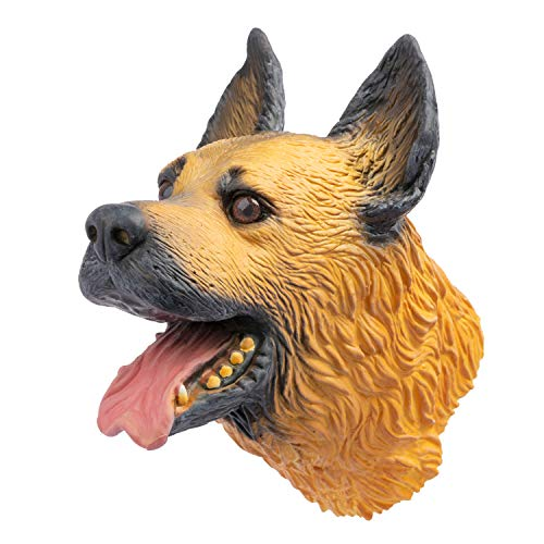 Hanzwa Tier Handpuppe Spielzeug Weiches Gummi Latex Realistischer Hund Deutscher Schäferhund Kopf