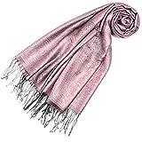 LORENZO CANA Designer Pashmina hochwertiger Damen Markenschal jacquard gewebtes Paisley Muster 70 cm x 180 cm Modal rosa silber Schaltuch
