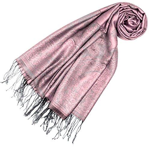 LORENZO CANA Designer Pashmina hochwertiger Damen Markenschal jacquard gewebtes Paisley Muster 70 cm x 180 cm Modal rosa silber Schaltuch mit Fransen Frauenschal Tuch 93309