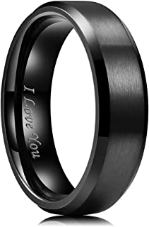 4mm/5mm/6mm/7mm/8mm Stainless Steel Ring Black Plated...