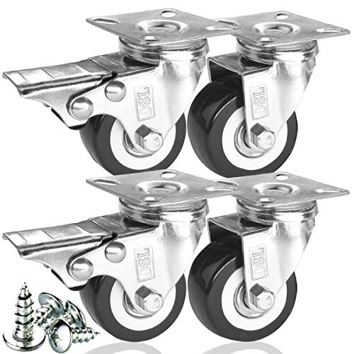 DSL - Juego de 4 ruedas giratorias de poliuretano resistente, doble rodamiento, 50 mm, de goma, con freno giratorio, 240 kg, montaje gratuito
