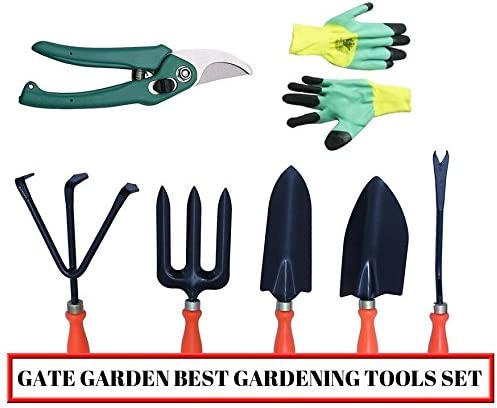 Kraft Seeds Gate Garden Spectacular Gardening Tools Set with Heavy Gardening Cut Tool and One Pair Hand Gloves (Orang...
