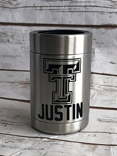 Texas Tech Can Holder Personalized Steel Double Wall Insulated Can Holder - Personalized Can Holder - Can - Groomsmen Gifts - Gifts for Him