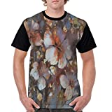 WYYCLD Man's T Shirts,Hand Drawn Oil Style Painting with Blossoming Cherries on Blurred Background S