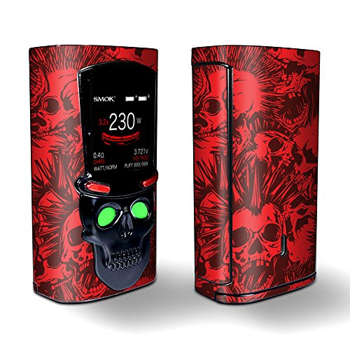 Skin Decal Vinyl Wrap for Smok S-Priv 225w Vape stickers skins cover/Red Punk Skulls Liberty Spikes