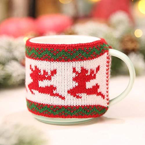 YOUGANT Kerstmuts, 1 stuks, gebreide kerstbeker, kopje, hoed, decoratie, leveringen voor kerstdecoratie C