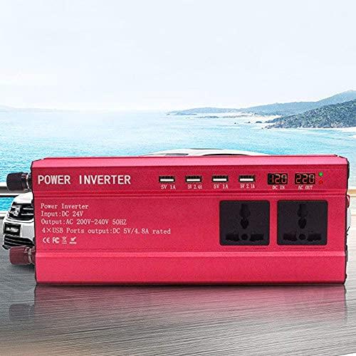 FHISD Inversor de Corriente 1200w 2200w, inversor DC 12v / 24v a AC 110v / 220v / 230v Convertidor de Corriente con 3 enchufes universales, 4 Puertos USB, Pantalla du