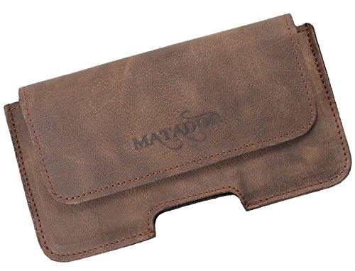 MATADOR Echt Leder Gürteltasche Ledertasche Slim Design breite Gürtelschalufe verdeckter Magnetverschluss kompatibel mit iPhone 7 (Tabacco Braun)