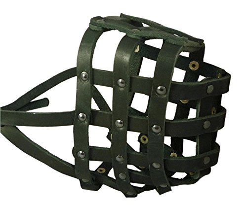 Real Leather Dog Basket Muzzle #115 Black (Circumference 18, Snout Length...