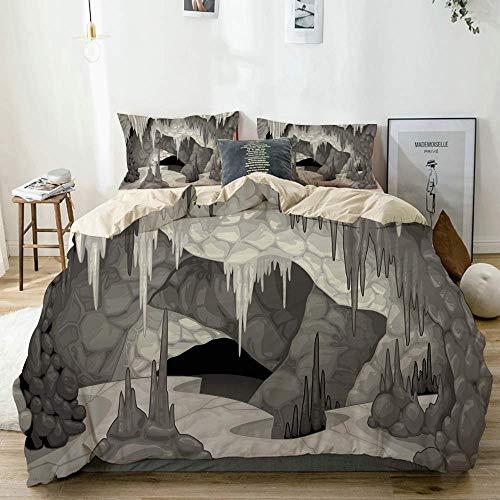 Juego de funda nórdica beige, interior de la caverna con estalagmitas, tema de espeleología, estilo de dibujos animados, gruta en escala de grises, juego de cama decorativo de 3 piezas con 2 fundas de
