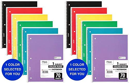 Mead Spiral Notebooks, 1 Subject, College Ruled, 70 Sheets, Assorted Colors, Color Selected For You May Vary, 1 Count (05512) 2 Pack