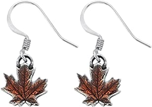 product image for DANFORTH - Maple Leaf/Autumn Pewter Mini Wire Earrings - 1/2 Inch - Surgical Stainless Steel - Handcrafted - USA