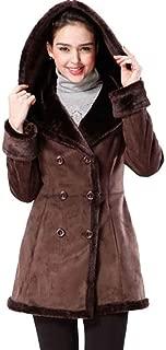 Women's Cindy Hooded Faux Shearling Walking Pea Coat