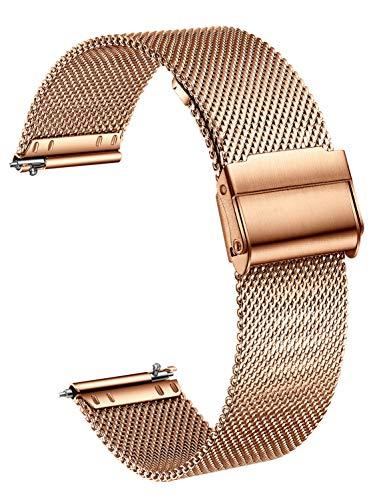 XIRUVE Uhrenarmband Edelstahl Mesh Schnellverschluss Ersatzband für Damen Herren 14/16/18/20/22/24mm (20mm, Rosegold)
