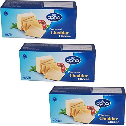 Dana Milk Cheddar Schmelzkäse Block (Packung mit 3), 400 g