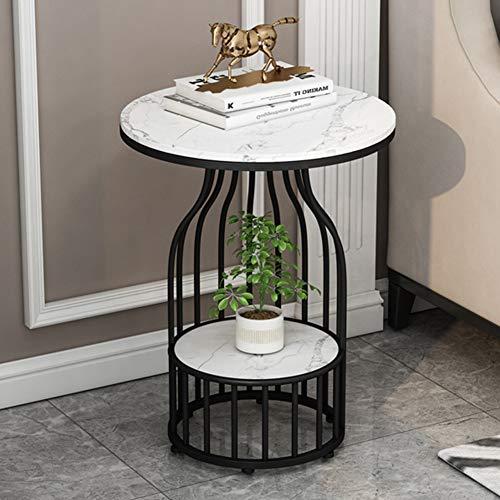 tavolino da caffè Tavolino da Salotto Moderno in Ferro battuto Piccolo, tavolino da Tavolo in Marmo, per Soggiorno, Camera da Letto, corridoio, tavolino da casa, 50 × 50 × 60 cm