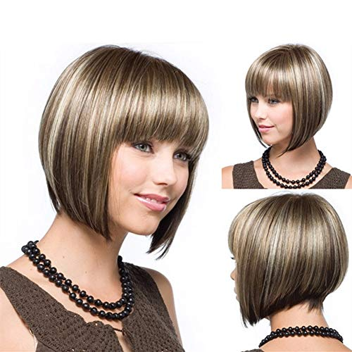 Cheveux courts de Bobo de gradient pour des femmes, cheveux synthétiques réalistes naturels synthétiques de fibre de perruque de fibre de cheveux pour la robe quotidienne avec le chapeau