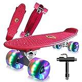 Monopatin Completo Mini Cruiser Skateboard 22' Retro Skateboard para Niños Adolescentes Adultos, Ruedas con Luz LED y Herramienta en T de Patinaje Todo en Uno (B)