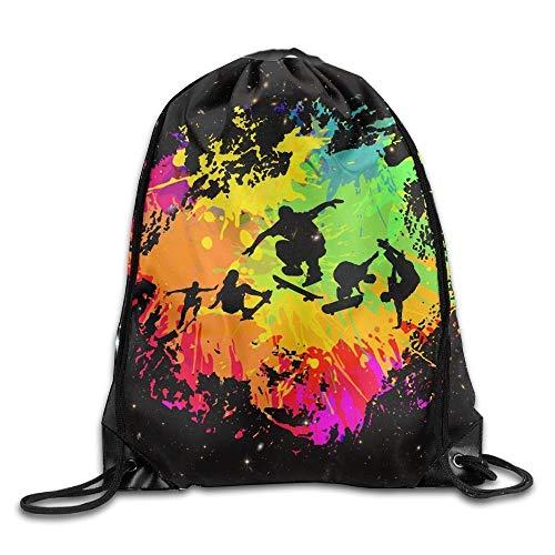 uykjuykj Tunnelzug Rucksäcke, Graffiti Paint Rainbow Skateboarder Lover Space Saver Sackpack Sport Bags Yoga Drawstring Backpack Bags Lightweight Unique 17x14 IN