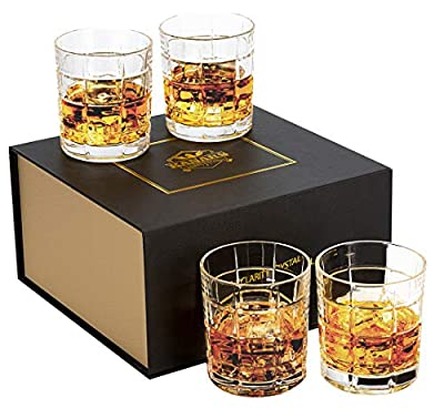 KANARS Whiskey Rocks Glass Set of 4-10 Oz Old Fashioned Lead Free Crystal Tumblers with Luxury Gift Box for Scotch, Cocktail, Bourbon - Premium Barware Gift for Father/Friends/Husband