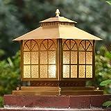 Decoración de muebles Poste de metal de cobre cuadrado Bolardo Luz Europeo al aire libre Impermeable Lámpara de columna de jardín Lámpara de poste de puerta E27 Comunidad externa Villa Patio Patio