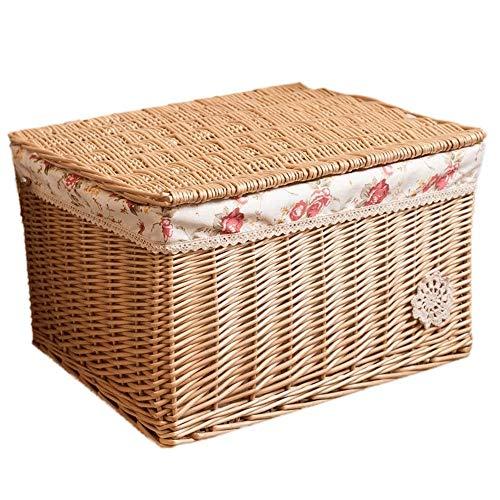 SHUSHI Wicker Storage Basket Trunk Chest Hamper Lidded (Size : 44 * 35 * 25cm)