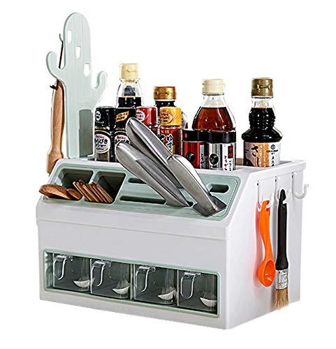 Estante organizador de especias plegable para especias, organizador de especias de pie, estante de almacenamiento para cocina, hogar, baño, cosméticos, armario, encimera, color verde