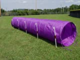14' Dog Agility Tunnel (Purple) with 6 J-Shape Metal Stakes