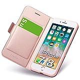 iphone8 ケース iphone7 ケース 手帳型 薄型 スマホカバー PUレザー 全面保護 耐衝撃 カード収納 マグネット付き ワイヤレス充電対応 スタンド機能 シンプル おしゃれ (アイフォン8 ケース/アイフォン7 ケース ローズゴールド)