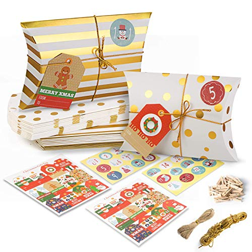 tEEZErshop 24 Adventskalender zum Befüllen | Süßigkeiten Box mit Zahlen Aufkleber & Weihnachts Marke + Mini-Holzklammern und 10m Hanfseile | 2020 Weihnachten Geschenksäckchen für Kinder