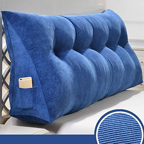 Kopfbrett Triangle Bett Große Kissen Wedges Rücken Taille Auflage-Bett Sofa Soft Bag Rückenlehne, abnehmbar und waschbar, 5 Farben, 9 Größen (Farbe: Blau, Größe: 90 × 50 × 20 cm), Größe: 100 × 50 × 20