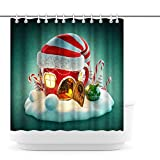 Artsbay Duschvorhang mit Weihnachtsmotiv, Weihnachtsmannmütze, mit Zuckerstangen-Kugeln, für den Urlaub, Winter, Duschvorhang, modern, Heimdekoration, Badezimmer, wasserdicht, Stoff mit Haken