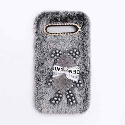 YHY Funda Teléfono Pearl Bear Plush para Samsung Galaxy S8 Carcasa De Felpa De Silicona Suave y Elegante La Piel Gris Oscuro