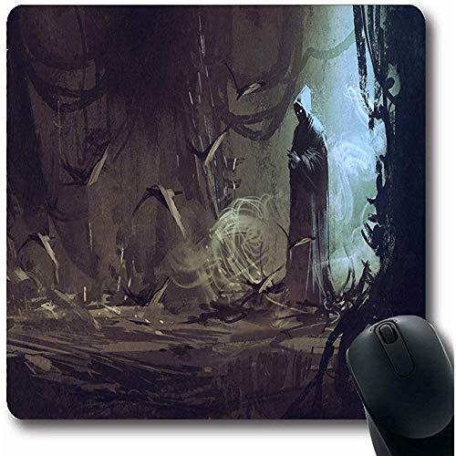 Mousepads tovenaar donker mysterie mantel mysterieuze Forestwizardsorcererillustrati zwart bos tovenaar Fantasie Oblong vorm 18X22Cm anti-slip Gaming Mouse Pad