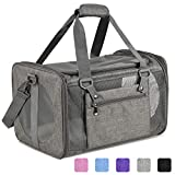 Vailge Cat Carrier Dog Carrier Airline Approved Pet Carriers for Small Medium Cats Dogs Puppies Bunny of 15lbs, Small Dog Soft Sided Carrier Collapsible Puppy Carrier (Grey)