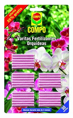 COMPO Varitas fertilizantes para orquídeas, Larga duración de hasta 3 meses, 30 unidades