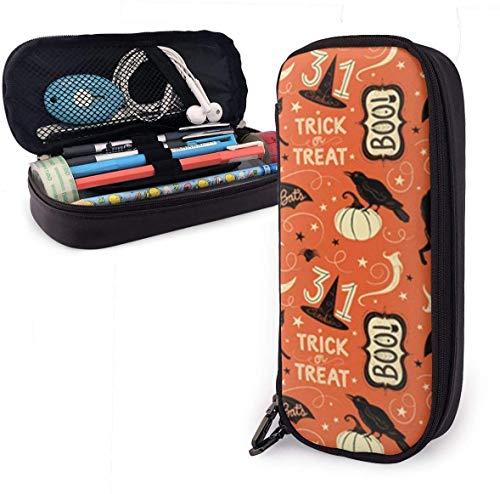 Yuanmeiju Vintage Halloween Trick Or Treat Boo Leather Estuche with Zipper,8 X 3.5 X 1.5 Inch Pencil Holder Pen Case Pouch