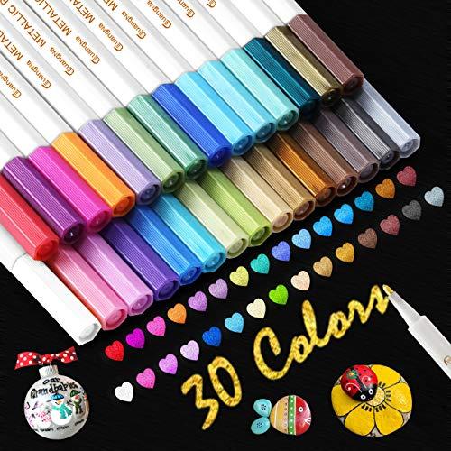 Buluri Acrylstifte, 30 Farben Metallic Stifte Acrylstifte Fein Art Filzstift Acrylic Schnelltrocknend Paint Pen für Black Card Steine bemalen, Fotoalbum Stifte, Acrylstifte für Steine