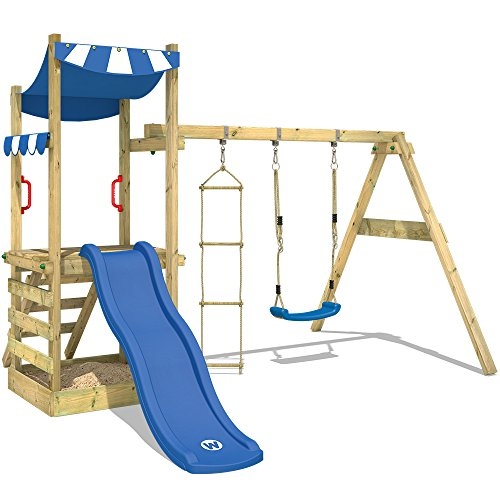 Wickey FunFlyer speelhuisje, klimtoren met schommel, zandbak, klimladder, blauwe glijbaan + blauw zeil