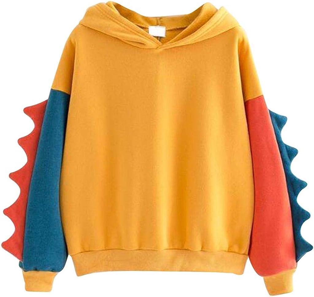 Hoodies for Women 2021 New Teen Girls Cute Dinosaur Printed Hoodie Pullover Sweatshirt Hooded Pocket Long Sleeve Tops Shirts