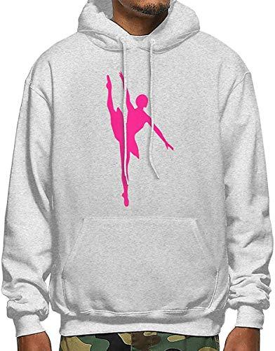 Hot Pink Ballet Dancer Men's Polyester Hoodie Pocket Sweater Jackets L