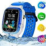Themoemoe Kids GPS Watch, Kids Smartwatch with GPS Tracker Waterproof Phone Smartwatch 1.44 SOS Touch Screen Flashlight Camera Math Game Chat (Blue)