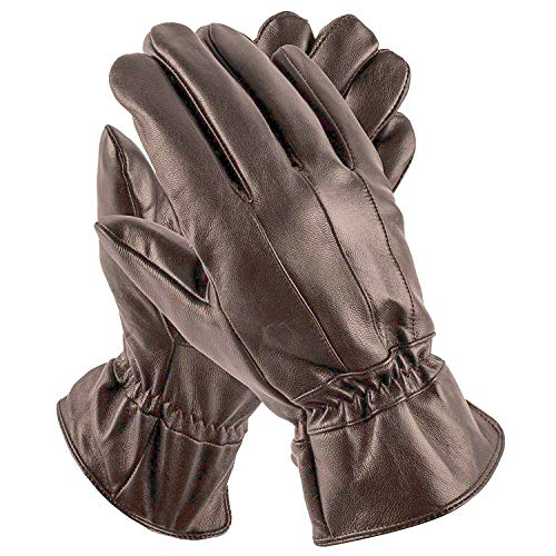 Pierre Cardin Mens Leather Gloves - Women's S, Leather Brown