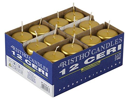 Cereria di Giorgio risthò Stumpenkerzen, Wachs, Gold, 4x 4x 7cm, 12Stück