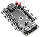 Chassis Fan Hub CPU Cooling 10 Port 12 V Molex to PWM Connector with 4 Pin 3 Pin Efficient PC-Fan Controller System with Adhesive Tape Dedicated Supply from PSU to Link Multiple Points