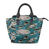 IUBBKI Bolso de hombro para mujer Lindo Doodle Astronautas Planetas Monederos con asa personalizada Remache de cuero Pu Impresión de moda portátil