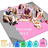 Sand Free Beach Blanket Sand Proof Extra Large Oversized 10'X9' XXL for 7 Adults and Compact Outdoor Pocket Blanket Large Sand Proof Picnic Mat for Beach Parks Picnics and Hiking (Pink+Grey)