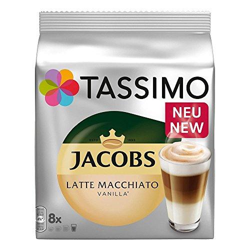 Tassimo Latte Macchiato Vanilla, Kaffee, Vanille Milchkaffee Kaffeekapsel, gemahlener Röstkaffee, 16 T-Discs / 8 Portionen