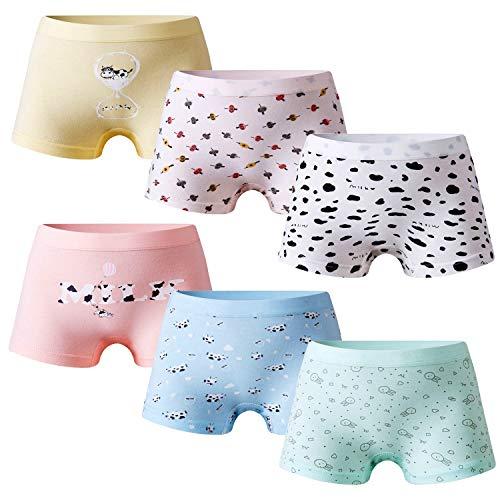 Growth Pal Girls' Panties Boyshort Briefs 6 Pack Soft 100% Cotton Underwear Toddler Undies for Girls-PJ11-130#, 06: Boyshort-06, 6-7 Years