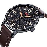 Dilwe Stecker Uhr, 4 Farben Fashion Metall Wasserdicht Quarzwerk Armbanduhr mit Verstellbarem Leder...